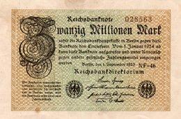 GERMANY-20 MILLIONEN MARK 1923  P-108c  XF+AUNC  UNIFACE  SERIE - [ 3] 1918-1933 : República De Weimar
