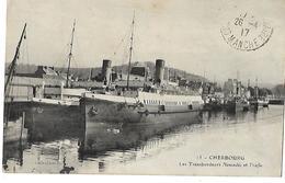 50 CHERBOURG LES TRANSBORDEURS NORMANDIC ET TRAFIC 1917 CPA 2 SCANS - Cherbourg