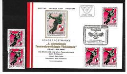 6033c: Österreich 1985, Feuerwehrwettkämpfe Vöcklabruck, Beleg Und 4 Postfrische/ Gestempelte Briefmarken - Vöcklabruck