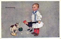Weinendes Kind, Spielzeug, Katze Hat Ein Butterbrot Gestohlen, Sign. AK, 1917 - Cats