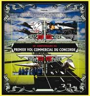 Bloc Oblitéré De 4 Timbres-poste - 40e Anniversaire Du Premier Vol Commercial Du Concorde - République Du Niger 2016 - Niger (1960-...)