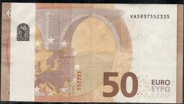 RARO BILLETE DE 50 EUROS - FRANJA SIN IMPRESION - V006DE Circulado - 50 Euro