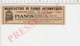 Publicité Presse 1915 Manufacture De Pianos Automatiques Limonaire Frères 229P - Unclassified