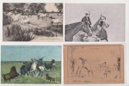 27659 Lot 4 Cpa Fantaisie -cheval Chevaux Camargue Taureaux Cavaliere - Chocolat Salavin - Bat-l'eau - Horses