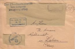 Dvt De Lettre Avec Tampon (Der Oberstaatsanwalt) Obl Flamme Strassburg 2p Le 4/8/41 + Frei Durch Ablösung N°19 - Marcophilie (Lettres)
