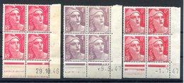 RC 16671 FRANCE 3x COINS DATÉS MARIANNE DE GANDON NEUF ** TB MNH VF - 1940-1949
