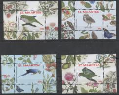 ST. MAARTEN , 2016, MNH, BIRDS, PARROTS, OWLS, 4 S/SHEETS, NOS. 5-8 - Parrots