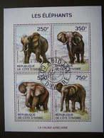 Elephants Elefanten Éléphants  # Ivory Coast # 2014 Used S/s #  Mammals Animals - Elephants