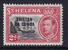 Tristan Da Cunha: 1952   KGVI 'Tristan Da Cunha' OVPT   SG4    2d     MH - Tristan Da Cunha