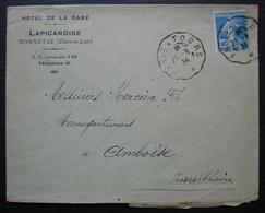Bonneval (Eure Et Loir) 1924  Hôtel De La Gare Lapicardise - Marcofilia (sobres)