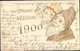 Lithographie Glückwunsch Neujahr, Jahreszahl 1900, Zwerge - New Year