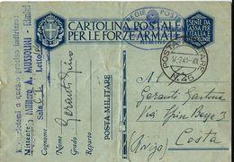 FRANCHIGIA POSTA MILITARE 45 1941 FORLI OSPEDALE MUSSOLINI RIMINI X COSTA ROVIGO - Military Mail (PM)