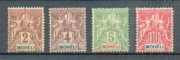 MOH 3 - YT  2-3-4-5 * - Charnière Complète - Mohéli (1906-1912)