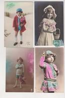 27663 Lot 4 Cpa Fantaisie Enfant Portrait Colorisée - Fillette Garçonnet - Child Kind Kleines Mädchen -nino Bambino - Portraits