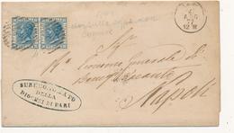 1877 BARI CERCHIO SEMPLICE + NUMERALE A SBARRE SU COPPIA 0,20 BIGOLA LETTERA DOPPIO PORTO NON COMUNE - 1861-78 Vittorio Emanuele II