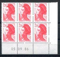 RC 16709 FRANCE N° 2376 COIN DATÉ LIBERTÉ DE GANDON 05.09.86 NEUF ** TB MNH VF - 1980-1989