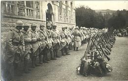 Carte Photo Militaires Poilus  87eme Regiment D Infanterie Paquetage Depart En Manoeuvre - Militaria
