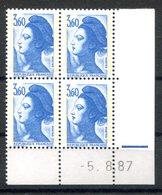 RC 16720 FRANCE N° 2485 COIN DATÉ LIBERTÉ DE GANDON 5.8.87 NEUF ** TB MNH VF - 1980-1989