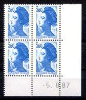 RC 16721 FRANCE N° 2485 COIN DATÉ LIBERTÉ DE GANDON 5.8.87 NEUF ** TB MNH VF - 1980-1989