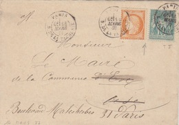 Lettre Obl Paris R. De La Tacherie Le 14 Mars 77 Sur 10c Sage Et 40c Siége Pour Le Maire D'Eve + Réexpédition à Paris - 1870 Siège De Paris