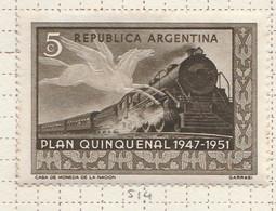 PIA - ARGENTINA -1951 : Piano Quinquennale : Treno E Pegaso  - (Yv  513) - Argentina