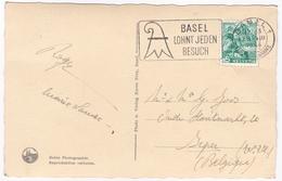 """Zichtkaart BASEL   : Spaleurtor / Mit Werbestempel : """"BASEL LOHNT JEDEN BESUCH"""" 1946 - BS Basle-Town"""