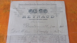 FACTURE HAUTE LOIRE BRIOUDE 189. REYNAUD CONFISEUR PATISSIER GLACIER  5 RUE DU COMMERCE FABRIQUE DE DRAGEES... - 1800 – 1899