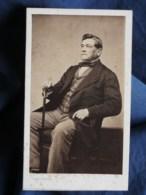 Photo CDV Pierre Petit à Paris - Second Empire Homme Assis, Notable, Canne, Baptiste Greny, Datée 1861 L498B - Fotos