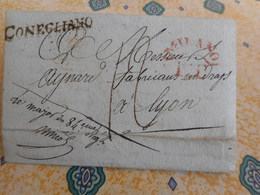 Département Conquis / CONEGLIANO / ITALIE / Port Paye De MILANO / Pour Lyon -  Militaria Napoleon - Rare - Postmark Collection (Covers)