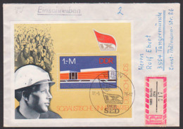 Berlin Palast Der Republik, DDR Block 45, R-Brief Vom Ersttag 11.5.76, IX. Parteitag Der SED, Arbeiter Mit Schutzhelm - FDC: Buste