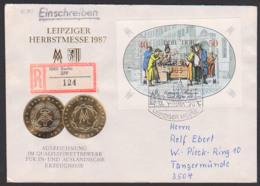 Leipziger Herbstmesse 1987, DDR Block 88, R-Doppel-Brief Vom Ersttag, Portogenau - DDR