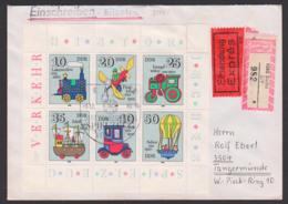 Historische Spielzeuge, Verkehrsmittel DDR Kleinbogen 2566/71 Vom Ersttag, SoSt. BERLIN, R-Eil-Brief, Lokomotive, Dampfw - FDC: Buste
