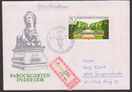 DDR 2489 70 Pfg. Barockgärten In Der DDR Rheinsberg Schlosspar Vom Ersttag, SoSt. BERLIN, R-Brief, Portogenau - DDR