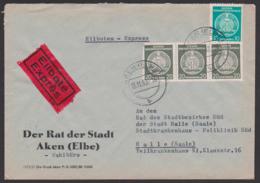 AKEN (Elbe) Dienst-Eil-Brief 12.11.58, Abs. Rat Der Stadt Behörde - Wahlbüro - - Service