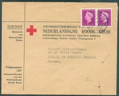 2de Wereld Oorlog - 2nd WORLD WAR - 10c. (paire)  Obl. Dc 's GRAVENHAGE Sur Enveloppe De Service (Min. Van Buitenlandse - Postal History