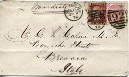 53128 ENGLAND,  Circuled Cover 1876 From Bolton To Brescia Italy - 1840-1901 (Regina Victoria)