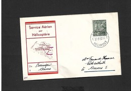 Service Aérien Par Hélicoptère Beringen Anvers  Du 21/08/1950 - Airmail