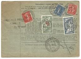H342 - Bulletin Colis De STRASBOURG Place De La CATHEDRALE ( HALLENSTEIN) - 1927 - Timbres MERSON + SEMEUSE - - Elsass-Lothringen