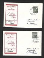 Service Aérien Par Hélicoptère Libramont Hasselt Et Hasselt Bruxelles  Du 21/08/1950 - Airmail