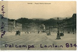 - - Torino - Piazza Vittorio  Emanuele - Caléche, Attelage, Cliché Rare, Animation , TTBE, Scans.. - Places