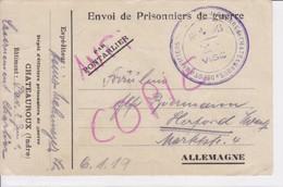 Carte De Franchise Militaire Camp D'officiers Prisonniers De Chateauroux Indre (type2) Censure  1918 - Marcophilie (Lettres)