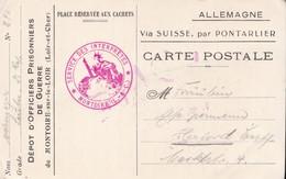 Carte De Franchise Militaire Camp D'officiers Prisonniers De Guerre De Montoire Sur Le Loir 1918 - Marcophilie (Lettres)