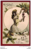 Magnifique Illustration - Femme, Arbre De Noël,  Pantin - Marionnettes - Paillettes - 2 Scans - Weihnachten