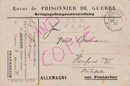Carte En Franchise Militaire Camp D'officiers Prisonniers De Guerre De JAUSIERS  Basses Alpes 1920 - Marcophilie (Lettres)