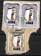 Overprint UAE.on Abu Dhabi 1972 25 Fills Strip Of 2 10 Fills UAE Very Fine Used - Abu Dhabi