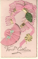SAINTE CATHERINE BONNET RUBANS ROSE FER A CHEVALFLEURS PERLES TREFLE- VIVE SAINTE CATHERINE-CARTE DOUBLE - Saint-Catherine's Day