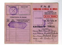 Fèdèration Nationale De Boules Annèe 1934 Suchard Roger - Documents Historiques