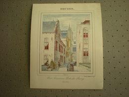 BRUGGE - BRUGES - VUE ANCIENNE PORTE DU BOURG 1843 - PORCELEINKAART 13 Cm X 10.5 Cm - Brugge