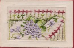 Carte Fantaisie Brodée Embroidery Borduurwerk Geborduurd Fantasie Kaart Fleurs Flowers Bloem Bloemen Gedicht Poem Poeme - Bestickt
