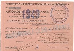 AUTOMOBILE CLUB DE FRANCE . CONCURRENT . 1949. IXELLES . BELGIQUE. CANNES - Trading Cards